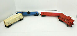 Lot Of 4 Vintage Lionel Train Cars Caboose Box Flat Bed 6511-2 6059 3410 6014