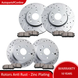 Drilled Slotted Front Rear Rotors Brake Pads For 10-17 Gmc Terrain Chevy Equinox
