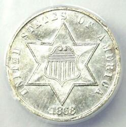 1868 Three Cent Silver Coin 3cs - Certified Anacs Au50 Details - Rare Date Coin