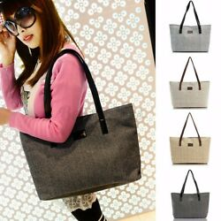 Women Canvas Shoulder Bag Large Capacity Linen Handbag Tote Girls Shopping Bag $13.99