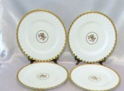 Minton Gold Rose 4 Dinner Plates 10 5/8 Swirled Edge And Gold Trim Discontinued 2