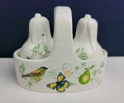 Mikasa Pear - Antique Countryside Salt And Pepper Shakers + Caddy