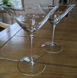 Crate And Barrelandnbspetched Snowman Stemware Cocktail Martini Glasses 2 Qty