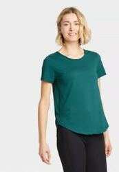 All In Motion Small Women#x27;s Short Sleeve Essential T Shirt Charcoal Teal $6.96