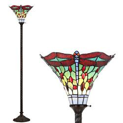 Style Floor Lamp Dragonfly Torchiere Led Bronze Red 71-inch Light Shade