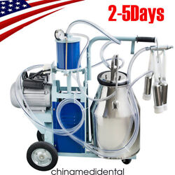 Portable Electric Milking Machine Milker Cows Stainless Steel W/ 25l Bucket 110v