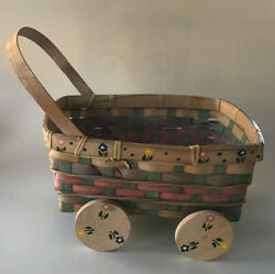 Vintage Woven Wood Baby Carriage Shape Basket Rolling Wheels Country Cottage