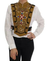 Dolce And Gabbana Yellow Crystal Cross Vest Jacket