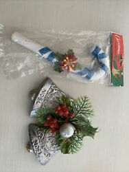 Vintage Christmas Candy Cane And Bells Wall Hanging Banner Door Ornament Lot 2