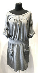 Superb See By Grey Low Waist Short Sleeves Boat Neck Dress Size 38 Uk 10