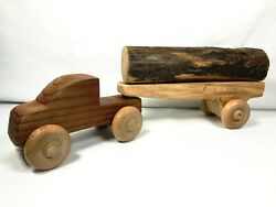 Natural Vintage Wooden Toy Truck With Flatbed Trailer And Lumber Log - 2 Pieces