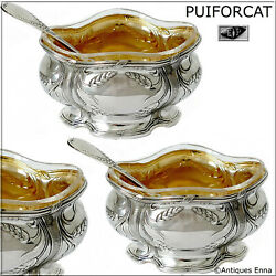 Puiforcat French Sterling Silver 18k Gold Salt Cellars Pair, Spoons, Wheat
