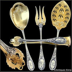 Puiforcat French Sterling Silver 18k Gold Dessert Hors Dand039oeuvre Set 4 Pc Box