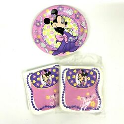 Minnie Mouse Pkg Of 16 Paper Party Napkins 9x9 Pink Purple New + 2 Plates Extras
