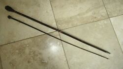 2- Vintage/antique Swagger Sticks / Walking Sticks,,,wood And Braided Leather