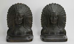 Pair Vintage Native American Indian Metal Iron Bookends