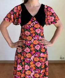 1970s Vintage Maxi Dress Xs Small Bohemian Floral 70s Velvet Pink Psychedelicandnbsp