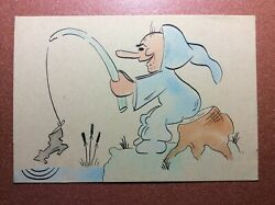 Rare Antique Water Color Postcard 1920s Blue Gnome Dwarf Fishing On Boot