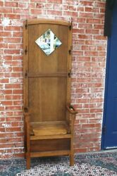 English Oak Antique Hall Tree Stand Hat Rack W Mirror Storage Hanger And Seat