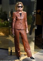 Abbey Clancy Fashion Fall 2020 Classy Leather Trouser Suit Genuine Lambskin Fit