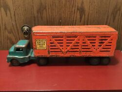 Vintage Structo Cattle Farms Inc. Pressed Steel Tractor Trailer Semi 1950's.