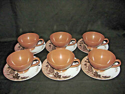 Texas Ware Melamine 6 Brown Coffee Cups With Brown And White Saucers