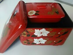 Japanese Stack Bento Box Lunch Container 3-tier Lacquer Red Flower