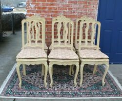Set Of 6 French Louis Xv Painted Antique White Upholstered Dining Chairs
