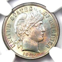 1908-s Barber Dime 10c Coin - Certified Ngc Ms66+ Plus Grade - 4,750 Value