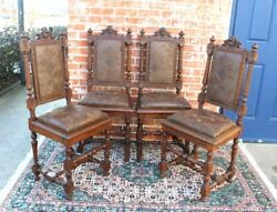 Set Of 4 French Antique Louis Xvi Carved Oak Dining Chairs With New Upholstery