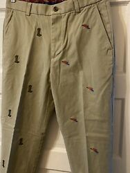 Brooks Brothers Mens Clark Chinos Fly Fishing Embroidered Trad Prep 32w/30l