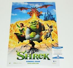Actor Eddie Murphy Signed And039shrekand039 12x18 Movie Poster 1 Beckett Coa Donkey Legend
