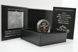 Beautiful 2021 First Amendment Platinum Proof Coin In Hand - Only 15k Minted