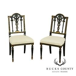 Bethlehem Furniture Vintage Black And Gold French Louis Xvi Style Pair Side Chairs