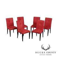 Classic Modern Style Quality Set 6 Red Button Back Mahogany Dining Chairs