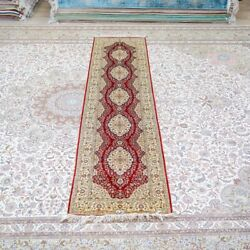 Yilong 2.5and039x10and039 Handmade Silk Rug Runner Hallway Kitchen Red Home Carpet Tj190a