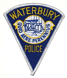 Waterbury Connecticut Ct Police Sheriff Patch Pie Shape City Seal Vintage Old Me