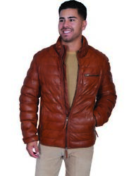 Scully Western Jacket Mens Ribbed Leather Zip Polyester Lining F0_512