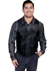 Scully Western Vest Mens Quality Ostrich Trim Button Pockets F0_607