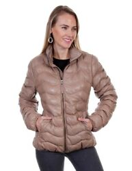 Scully Western Jacket Womens Ribbed Leather Front Zip Lined F0_l620