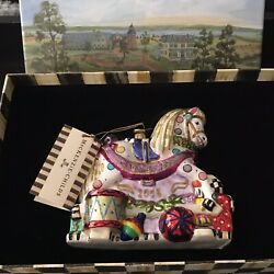New Rare Mackenzie Childs Baby's 1st First Christmas Ornament Rocking Horse 2013