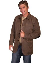Scully Western Jacket Mens Leather Elbow Patch Button F0_1046