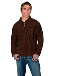 Scully Western Shirt Mens Trapper Long Sleeve Fringe Leather F0_5