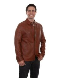 Scully Western Jacket Mens Button Shirt Leather Xxl Cognac F0_1044