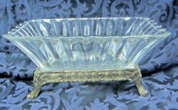 Antique Rectangle Bowl With Stand Made In Japan Tarnish Resistant Silver Large