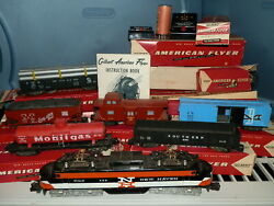 Vtg 1950's Gilbert American Flyer Train Set Lot W/boxes New Haven Engine Deluxe