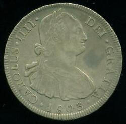 Potosi Mint Bolivia Under Spain Eight 8 Reales 1803 Pj Silver Coin Dollar Size