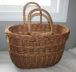 Vintage Brown Sewing Picnic Misc Beach Large Wicker Basket With Handles