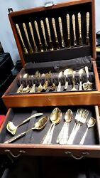 Stanley Roberts Gold Plated Pc. Flatware Rose Pattern With Box