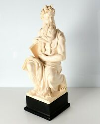 Gino Ruggieri Alabaster And Resin Moses With Horns Sculpture By Michaelangelo
